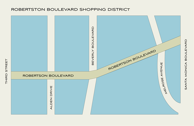 Robertson Boulevard Map - Robertson Bouevard Shopping District